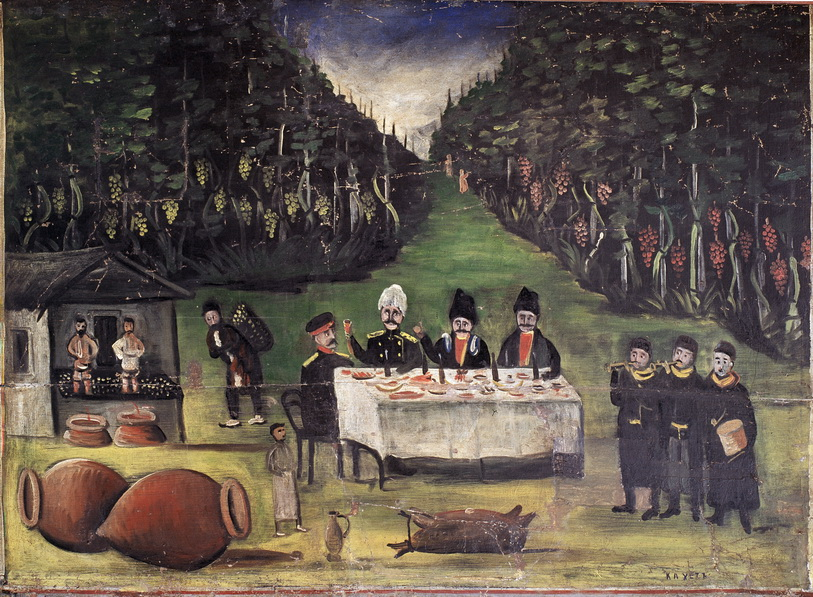 Niko_Pirosmani._Autumn_Feast._Niko_Six_-_picture_Panel._Oil_on_oilcloth